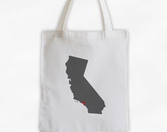 State Silhouette Canvas Tote Bag with Heart Over Home Town - California Bag in Dark Gray on a Reusable Tote - Choose Any State (3025)