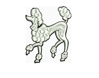a dog embroidery design , Standard Poodle done 2 ways embroidery design 2 files