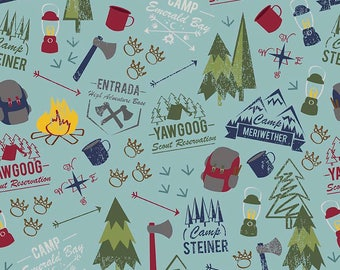 SALE Modern Scouting Main Blue by Riley Blake Designs - Boy Scouts Camping - Quilting Cotton Fabric - choose your cut