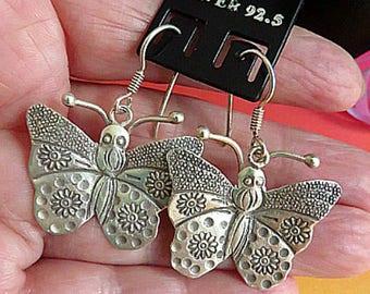 Large butterflies handmade 925 Silver Karen Hill Tribe earrings