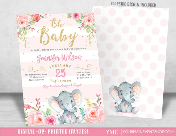 Girl Elephant Baby Shower Invitation, Pink Elephant Baby Shower, Jungle Baby Shower Invite, It's a Girl, Diaper Raffle Book Request