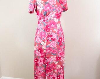 Pink Vintage Maxi Dress - XS / S - Floral Dress - Vintage Dress - XS Dress - Small Dress - Retro Dress - 60s Dress - 70s Dress - Pink Dress