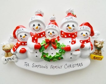 Personalized Family of 5 Ornament with Dogs or Cats Added - Family of 5 Ornament with 2 Dogs or Cats Added -  Family of Five Ornament