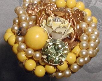 Vintage Hat Pin Pearls, Yellow Beads, Set Stones