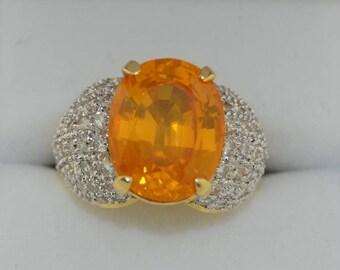 18K Orange Sapphire and Diamond Ring