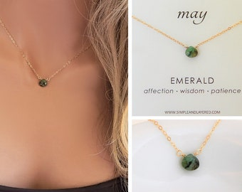 Emerald Necklace • May Birthstone • Genuine Emerald Gemstone • Dainty Gold Necklace • Natural Emerald • Raw Stone Necklace • Girlfriend Gift