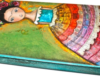 Giclee print mounted on Wood (3 x 6 inches) Folk Art  by FLOR LARIOS