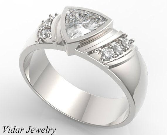 Mens Wedding Band Unique Trillion Cut Diamond Ring in 14K