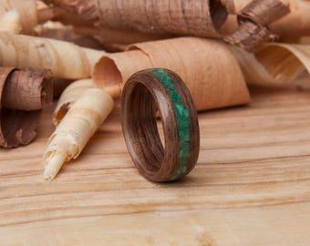 Walnut Bentwood Ring - Wood Ring - Bentwood Ring - Malachite Inlay Ring - Green inlay - Stone Inlay - Inlay Ring