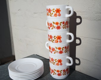 Vintage 70' lot of6 Arcopal Scania expresso cups and saucers