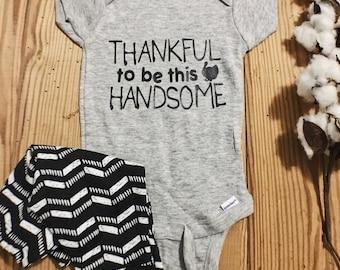 handsome onesie, Thanksgiving Onesie, Holiday Onesie, Turkey Onesie, Baby Onesie, Baby Boy Onesie,  Baby Girl Onesie,