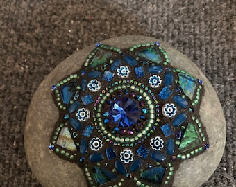 Mosaic Lotus Mandala Rock