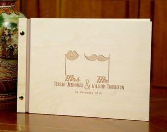 Engraved Wedding Guest Book Wooden Personalized Rustic Memory Book Custom Wedding Present
