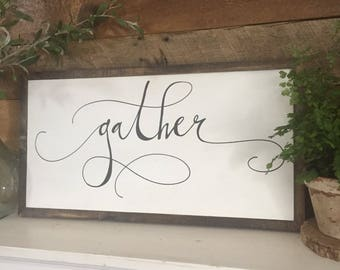 Gather sign, FREE shipping,gift for her, fixer upper, thanksgiving signage, gather, fall decor, farmhouse sign, fall sign, joanna gaines