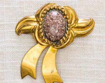 Gold Bow Brooch Vintage Rose Gold Oval Center Broach Vtg Pin 7JJ