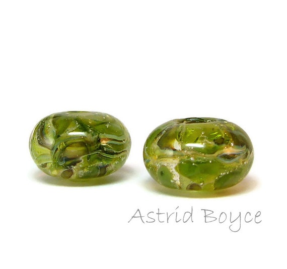 Olive Swirl Lampwork Bead Pair - Spacer Beads that reflect Tuscan Style in Art Jewelry Crafting Creations - Perfect for your OOAK Art Doll