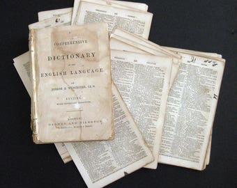 20 vintage 1860 Dictionary book pages from A Comprehensive Dictionary of the English Language By Joseph Worcester For your craft projects