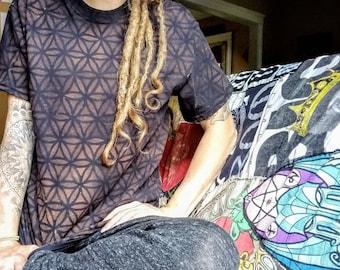 Mens shirt, flower of life, sacred geometry, bleech died, stencil, festival clothing