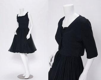 black chiffon dress set vintage 1950s • Revival Vintage Boutique