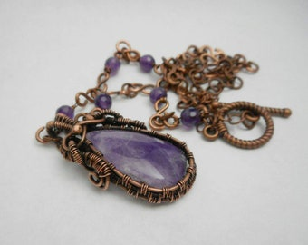 Amethyst Copper Wire Wrapped Pendant, Amethyst beads necklace, Amethyst cabochon, Gift For Her