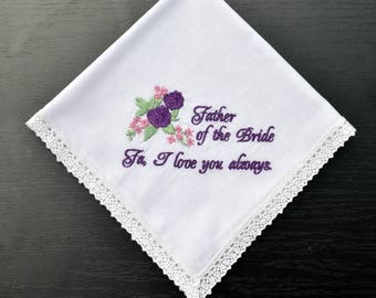 Father of the bride handkerchief Wedding gift for dad from daughter gift for Father of the bride gift wedding handkerchief Wedding Favors