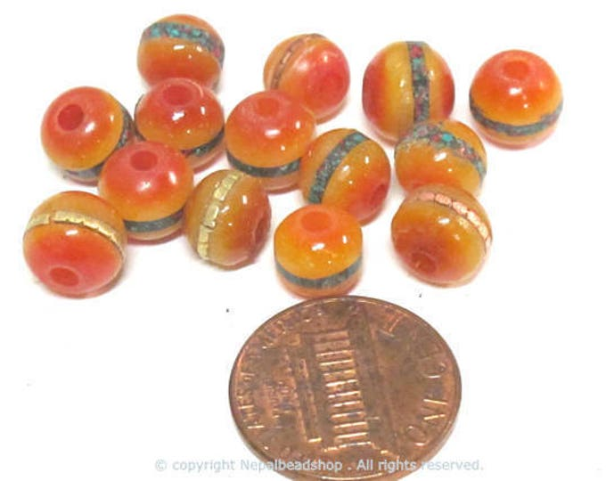 10 beads - 8 mm Tibetan honey yellow resin beads with brass ,turquoise coral inlay - ML109C