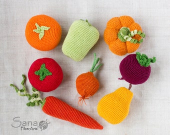 Crochet Vegetables fruits, rattle, halloween doll food, teething, stuffed play food, baby gym toys, kitchen decor, waldorf toy, Set of 8