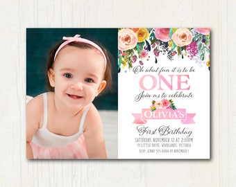 Floral 1st  Birthday Photo Invitation | Floral 1st Birthday Photo Invitation, 1st Birthday, Invite, Digital, 1573