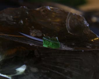 Faded green glass shard from Keuka Lake