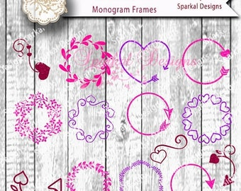 SALE.50%.OFF Monogram frame Digital Stencil, Arrows and Hearts Cutting design,  Circle Frame SVG Cut File Cricut design Space, Silhouette St