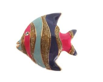 Tropical Fish Brooch, Angel Fish Broach, Glitter Fish Pin, Multi Colors, Vintage Retro, Nautical Beach Pin, Beach Wedding
