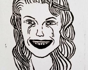 Laura Palmer linocut print
