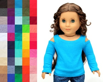 Fits like American Girl Doll Clothes - Long OR 3/4 Sleeve Cold Shoulder Top, You Choose Color | 18 Inch Doll Clothes