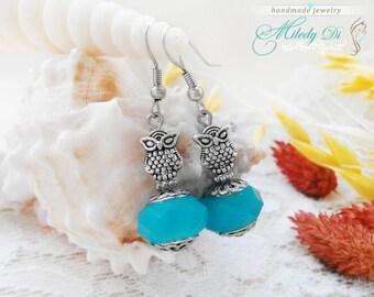 Small earrings, Lampwork earrings, Dainty jewelry, Minimalist earrings, Beaded earrings for woman, Gift for wife, Blue Owl earrings for lady