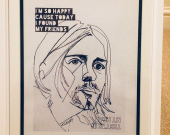 Kurt Cobain (Nirvana) single line pen and ink portrait print A4