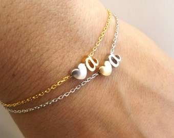 Two tone silver or gold initial bracelet, personalised bridesmaid gift, personalized bridesmaid Jewelry , initial bracelet
