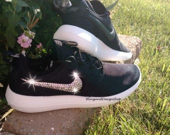 Swarovski Bling Nike Roshe Two Women's Nike Shoes Customized with Swarovski Crystals Rhinestones, Sneakers, Tennis shoes, Bridal shoes