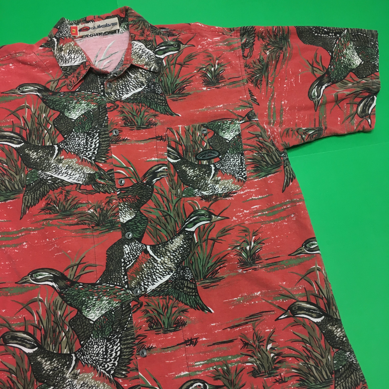 Weinlese Ente Muster Shirt Ente Muster Knopf bis 90er