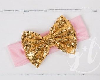 Pink and gold sequin headband, headband with sequin bow, gold sequin bow,  toddler headband, Sequin bow headband
