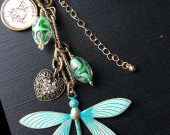 Spa green dragonfly. Handmade , handbag jewelry by local artists