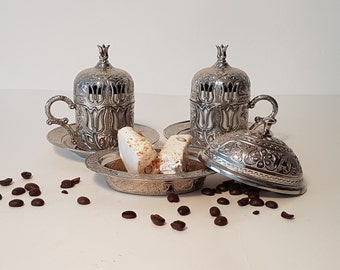 Traditional Ottoman Turkish Coffee Set for two Cups and Turkish Delight or Sugar Bowl, Traditional Turkish Coffee, Espresso, SHINY SILVER