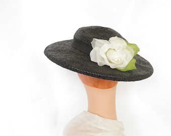 Woman's 1930s hat, black straw, white rose, Joal New York
