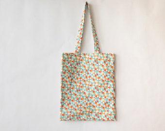 Geometric printed cotton Tote Bag, red, blue, orange, shopping bag.