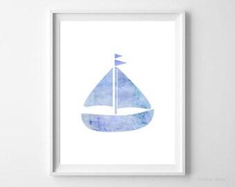 Nautical Print Boat Print Watercolor Blue 8x10 Instant Download Printable Nursery Art Nursery Decor Home Decor Boat Poster Modern Boys Room