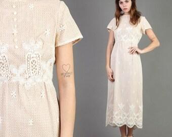 SALE SALE SALE vintage 60s 70s Scalloped Lace hem hippie dress size L / cream wedding empire boho victorian maxi dress 60s 1970s large mediu