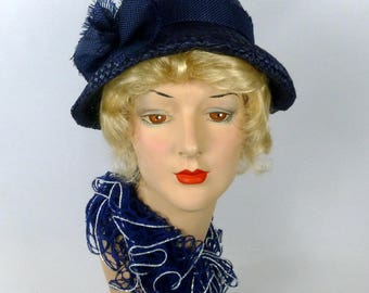 Deep Blue Woven Straw Hat - Vintage  Swiss Straw Hood - Fringed Straw Bow Trim - Mother of the Bride - Church - Work - Luncheon