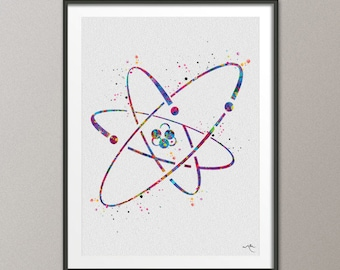 Atom Nuclear Atom Symbol, Watercolor Print, Medical Symbol, Wall Art, Atomic, Science Art, Graduation Gift, Physics, Science Decor-994