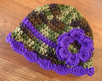 Crocheted Baby Girl Camo and Royal Purple Hat with Flower ~ Camouflage & Royal Purple ~ Baby Shower Gift, Newborn to 5T - MADE TO ORDER