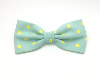 Mint Green Polka dot Pre tied Mens Bow tie Wedding Men Women Teen Boy Baby Toddler Children Bow tie for Groom Groomsmen Formal Occasion