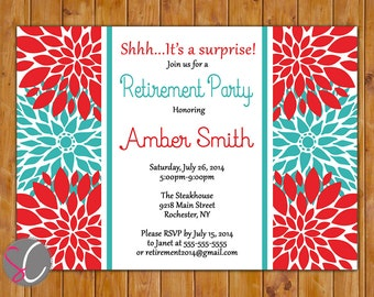 Retirement Party Invite Farewell Celebration Red Teal Floral Burst  Invitation 5x7 Digital JPG DIY Printable (302)